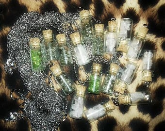 Necklace Glass Vial - Bottle Cork Lucky Talisman - Crystals - Stainless Steel Peridot Pyrite or Rose Quartz