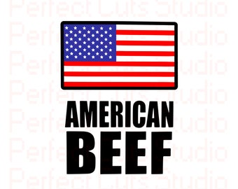 American Beef & Flag SVG and Studio 3 Cut File Cutouts Files Logo Stencil for Silhouette Cricut I Love SVGS Stencils Decals United States