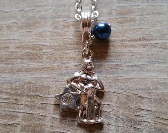 Navy Blue Aquarius zodiac sign necklace