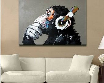 Hand painted Oil Painting of Gorilla Monkey Home Decor