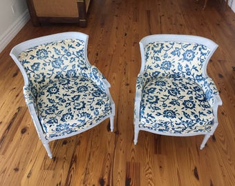 vintage velvet blueivory french bergere chairs