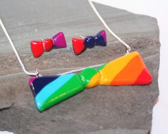 Rainbow Bowtie Necklace and Earrings