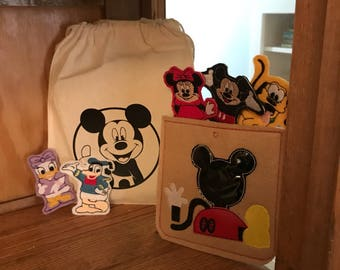 Disney Mickey and friends Felt Finger Puppet Set - 5 Puppets Birthday, Christmas, Shower gift