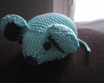 Handmade mouse turquoise knit