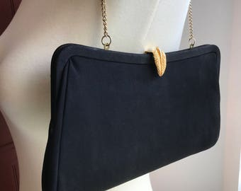Vintage Black Evening Bag with Gold Tone Chain