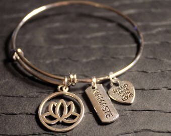 Lotus Flower with Namaste Charm Bracelet