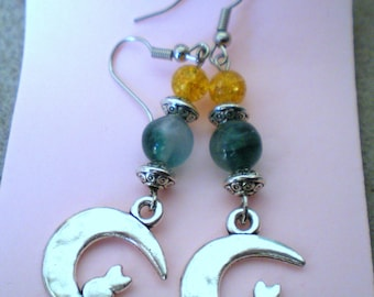 """Cat in the Green Moon"" earring loop backed silver metal"