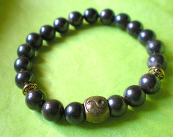 "Mixed Yoga BRACELET ""YIN YANG in bronze and Tiger's eye"" 8 mm"