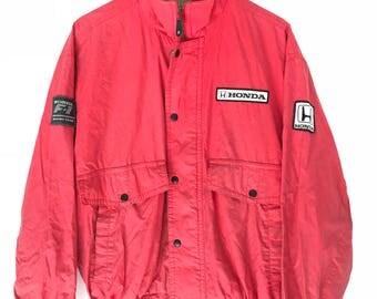 Vintage Honda Racing Big Logo Spellout Formula One Jacket Windbreaker Honda Team Racing Red Colour Size Large