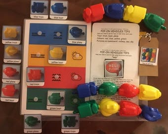 Train, boat and plane toys language builder