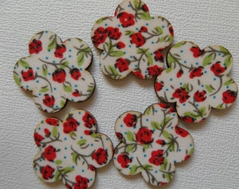 Set of 5 embellishments in wood and red flower fabric