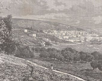 Nazareth, Palestine 1881 - Old Antique Vintage Engraving Art Print - Town, Forest, Trees, Grass, Fields, Buildings, Flowers, Man, Walking
