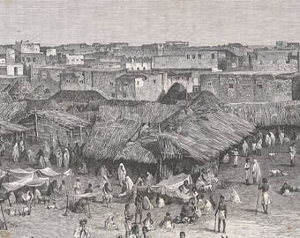 Somalia 1889, Meurka Market, Old Antique Vintage Engraving Art Print, Thatch, Roof, Building, Man, Woman, Child, Animal, Sitting, Goat