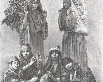 Palestine 1882, Arab Ghawarineh, Old Antique Vintage Engraving Art Print, Woman, Musician, Carrying, Leaf, Turban, Fez, Nosering, Flute, Bag