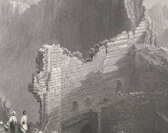 Syria 1839, Part of the Walls of Antioch, Over a Ravine, Old Antique Vintage Engraving Art Print, Wall, Building, Ruin, Destroyed, Mountain