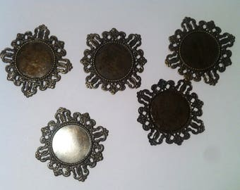 Set of 5 blank cabochon, filigree, bronze antique