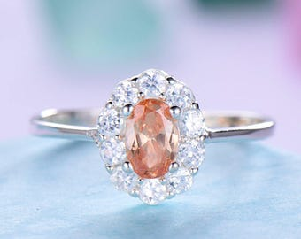 Pink Morganite Halo Engagement Ring 925 Sterling Silver White Yellow Rose Gold CZ Diamond Antique Anniversary Gift Promise for Her Oval Cut