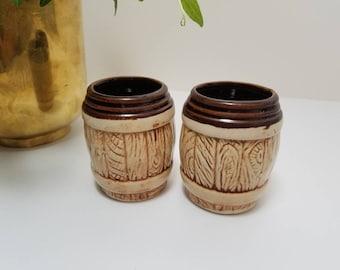 Vintage Ceramic Barrel Mug Shot Glasses, Mini Mugs