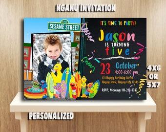 Sesame Steet Invitation,Sesame Street Birthday,Sesame Street Party,Sesame Street Card,Sesame Street Printable,Sesame Street,Sesame_BF822