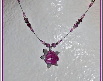 Flower necklace purple and silver for child