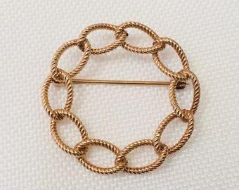 Rope Style Link Circle Pin/Brooch in 1/20 12k Gold Filled