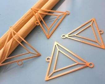 4 prints - watermark - Triangle - Dim:25X25x25mm - copper connector pink #M81