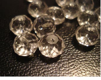clear flat faceted bead