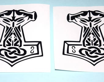 2 Black Odin - Thors Hammer - Mjolnir Vinyl Decals
