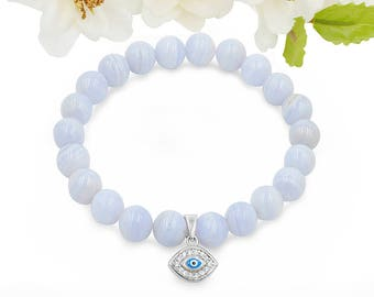 Natural Gemstone Blue Lace Agate Bead  Bracelet 925 Sterling Silver Evil Eye Charm