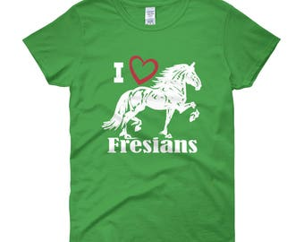 I Love Fresians Womens Short Sleeve T-shirt