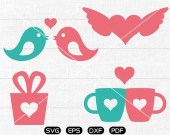 Heart cup SVG, Heart bird svg, LOVE gIft box Clipart, Valentine's Day cricut, silhouette cut files commercial use