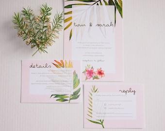Tropical Peach Wedding Invitation Suite Sample