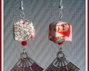 Earrings small lanterns origami and paper fans