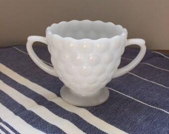 Milk Glass - Bubble - Sugar Bowl - Vintage - Farmhouse