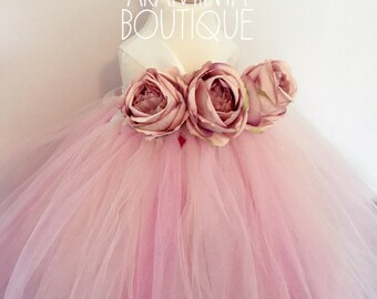 Girls flowergirl tutu dress, Unicorn blush pink, ivory, pink, peach, rose flowers & ribbon. Extra fluffy. Fairy costume. Bridesmaid,Birthday