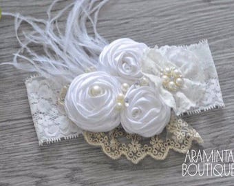 Baby Flower Headbands, Pearls, Diamante & Lace Headbands. White and Gold. Unicorn Headbands. Cake smash, Birthday and Party Accessories