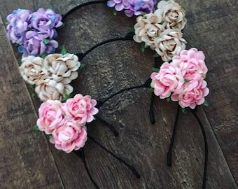 Cat ear headband, pink cat ears, flower headband, flower cat ears, purple cat ears, cream cat ears, cat costume, cat headband