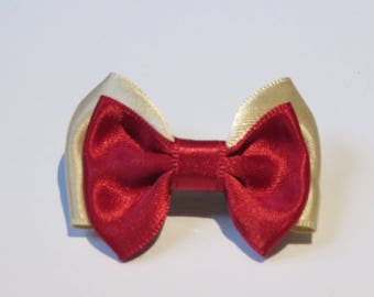 Barrette plastic 4 cm with small bow tie in Cherry Red and beige satin fabric