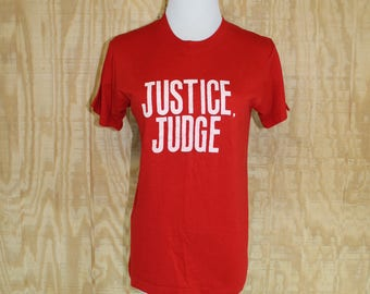 Vintage 1980's Justice Judge Screen Stars 50/50 Red T Shirt Small Medium S / M