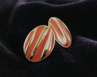 Vintage 80's Silver & Coral Enameled Striped Oval Stud Statement Earrings