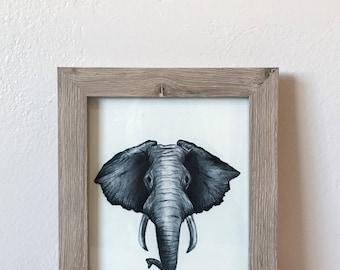 Charcoal Elephant Head