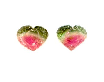 Carve Tourmaline 7.10 cts 2 Beautiful Pieces Carved Tourmaline Tri-color Heart Shaped Loose Gemstone - 104