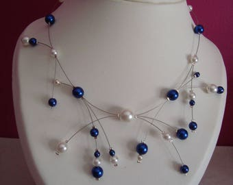 Cornflower blue and white necklace