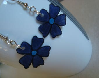 Fancy crazy plastic Blue Flower Earrings