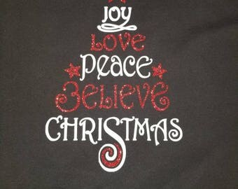 "Christmas ""tree"" vinyl shirt - glitter or matte vinyl - joy, love, peace, believe, christmas"