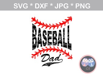 Baseball Dad, laces, ball, svg, dxf, png, jpg digital cut file for cutting machines, personal, commercial, Silhouette Cameo, Cricut