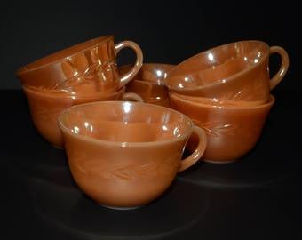 FIRE KING, 6 Vintage, Peach luster, Ware Cup, or Tea Cup, Laurel Leaf Pattern, 1950s, Anchor Hocking, Peach lustre, Teacup, Coffee mugs