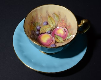 AYNSLEY, Orchard fruit, Sky Blue, Teacup and saucer, Vintage, Signed Aynsley, Golden Orchard Teacup, Artist Signed D Jones, hand painted