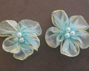 2 flowers blue satin for scrap fabric bijouw.