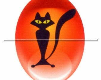 1 cabochon 30mm x 40mm glass, orange and black cat Halloween